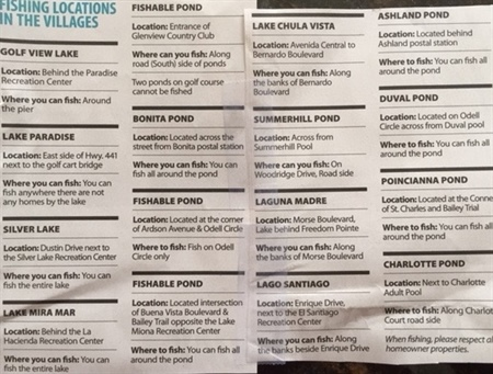 Recent Newspaper Listing of the Ponds That Can Be Fished In The Villages